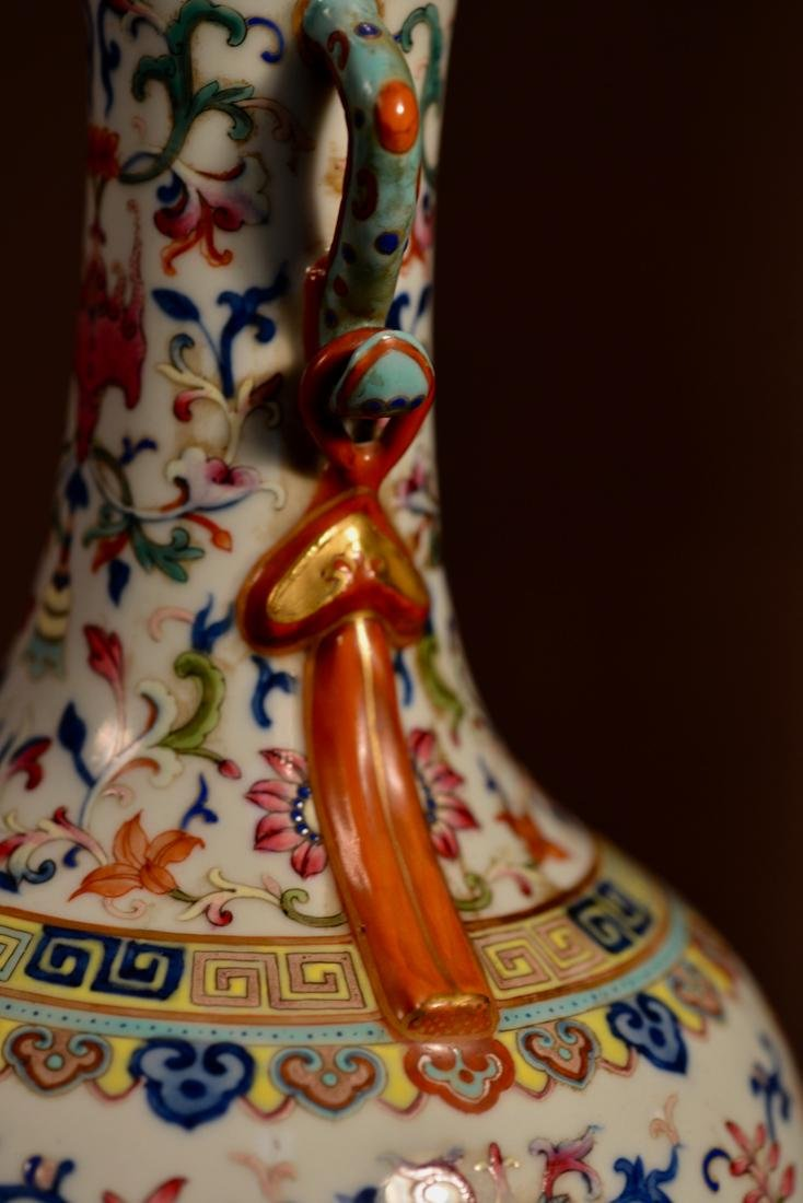 Chinese Famille Rose Porcelain Vase with Double Handle - 4