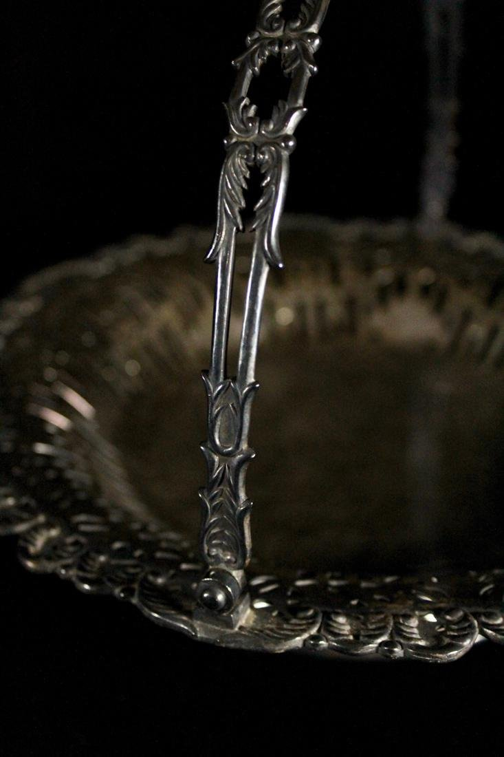 Japanese Sterling Silver Basket with Reticulate Design - 3