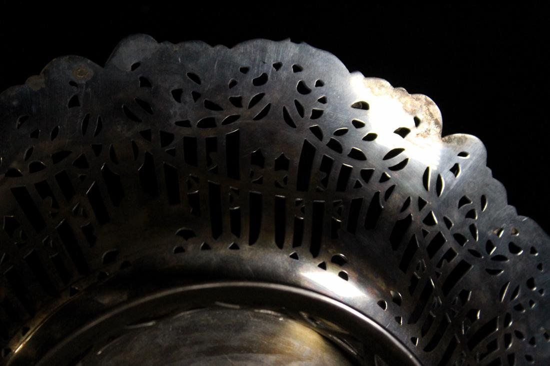 Japanese Sterling Silver Basket with Reticulate Design - 9