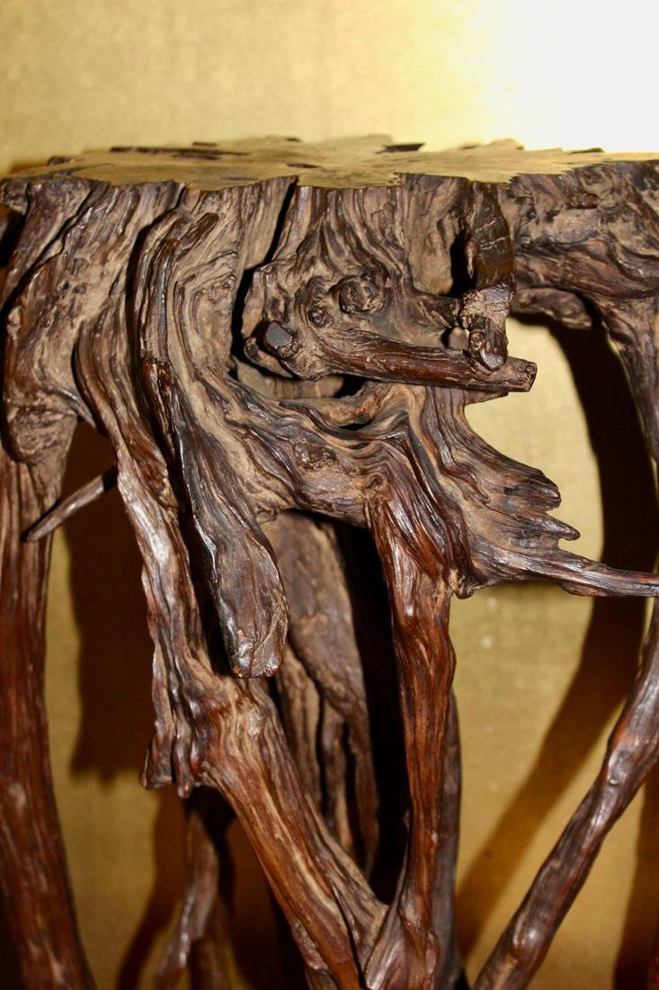 Chinese Rootwood Scholar Censer Stand - Presentation - 5