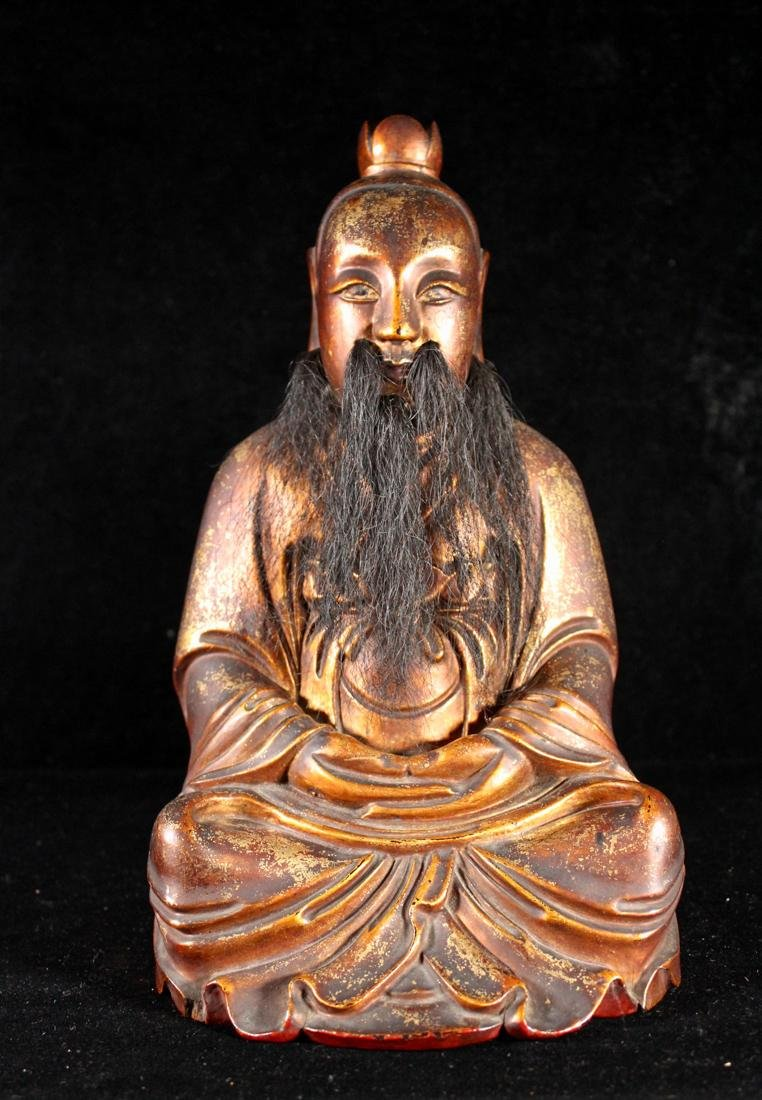 Chinese Carved Lacquer on Wood Daoist Figurine