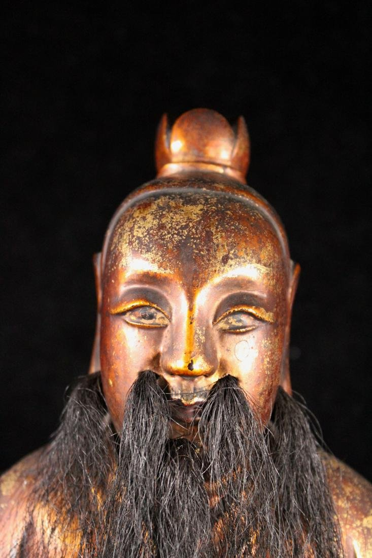 Chinese Carved Lacquer on Wood Daoist Figurine - 2