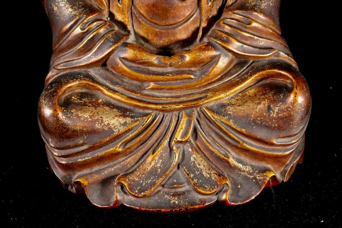 Chinese Carved Lacquer on Wood Daoist Figurine - 4