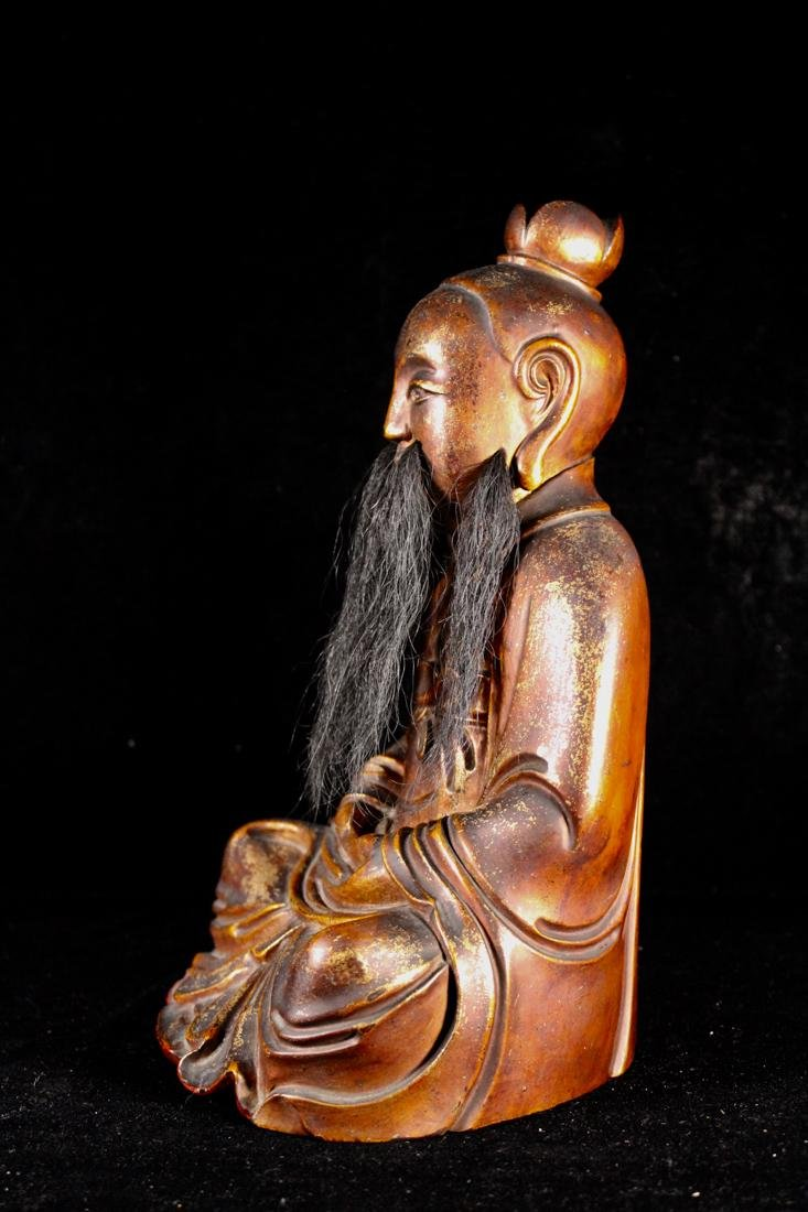 Chinese Carved Lacquer on Wood Daoist Figurine - 5