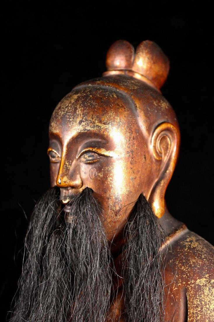 Chinese Carved Lacquer on Wood Daoist Figurine - 6