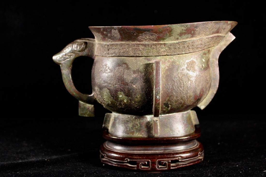 Chinese Sung Yuan Bronze Cup with Rosewood Base - Old - 4