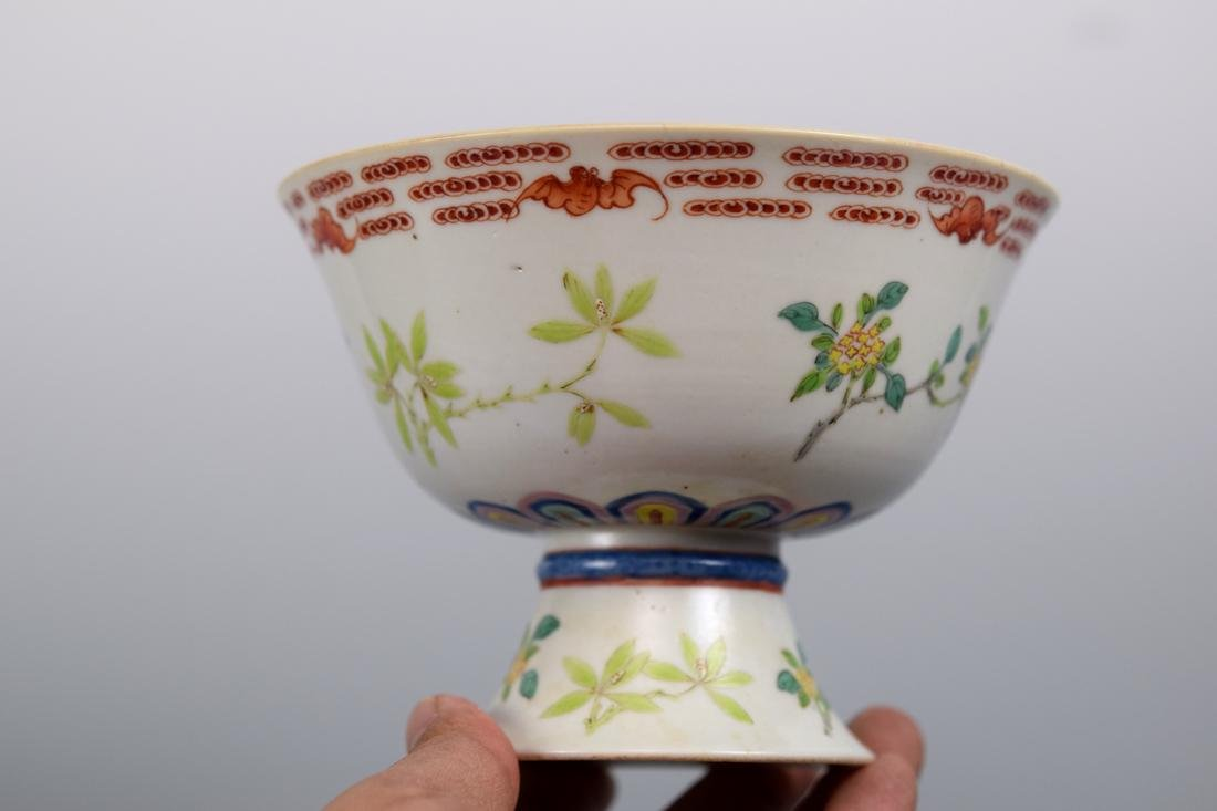Chinese Famille Rose Porcelain Stem Bowl with Bats - 2