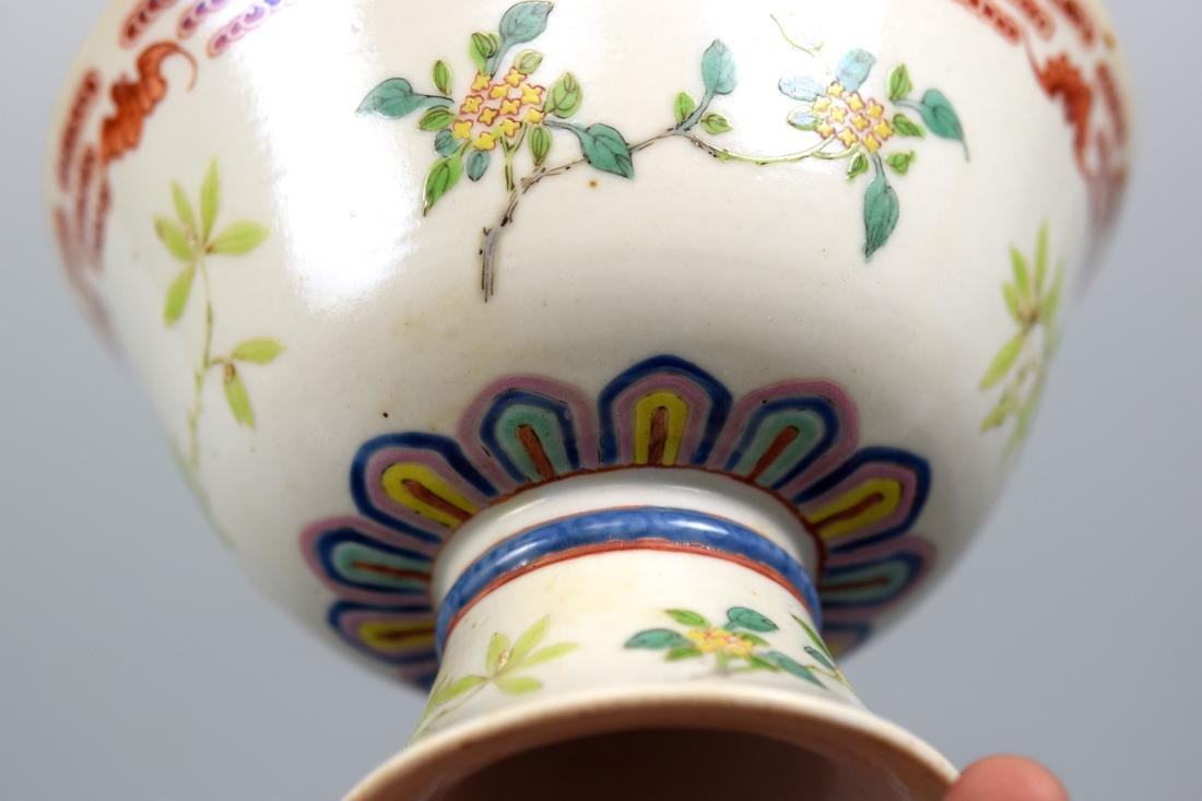 Chinese Famille Rose Porcelain Stem Bowl with Bats - 4