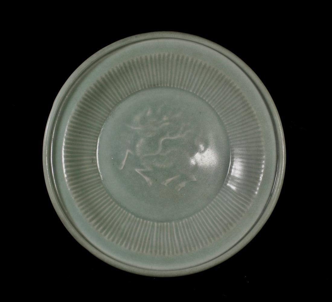 Chinese Song / Yuan Celadon Porcelain Dish with Kirin