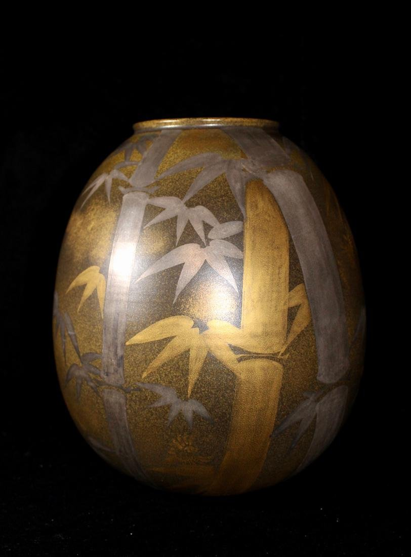 Unusual Japanese Modern Vase with Silver Gold