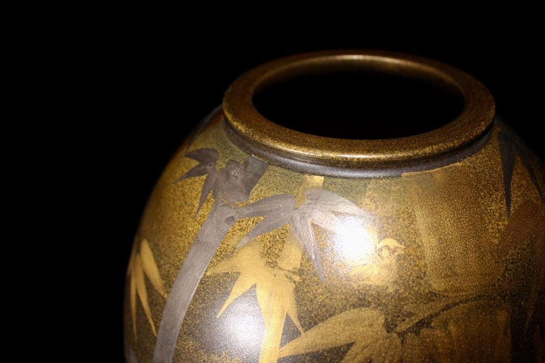 Unusual Japanese Modern Vase with Silver Gold - 4