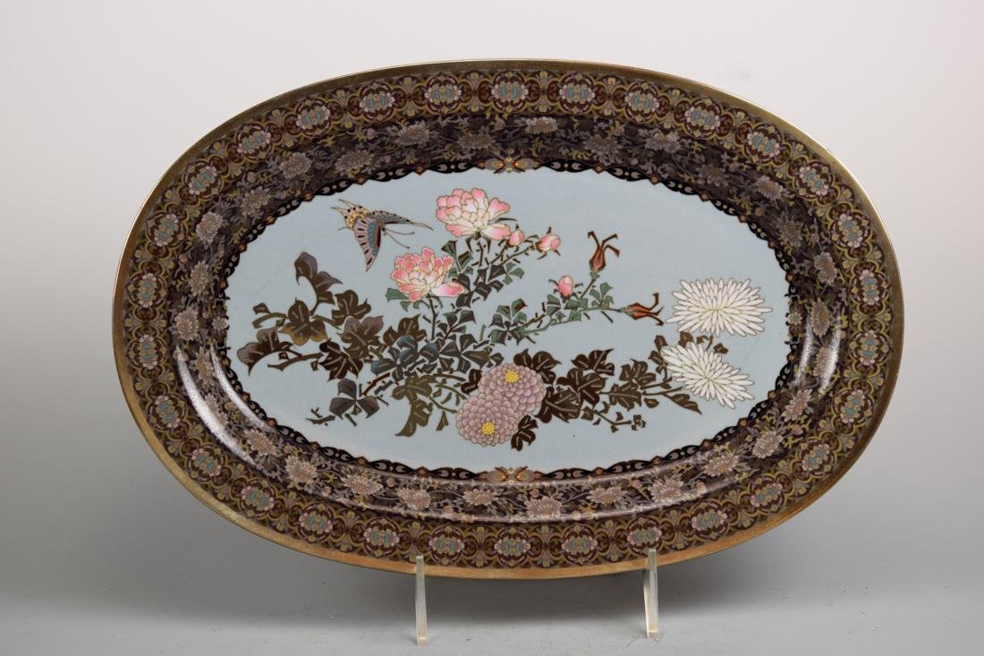 Japanese Oval Cloisonne Tray with Floral and Butterfly