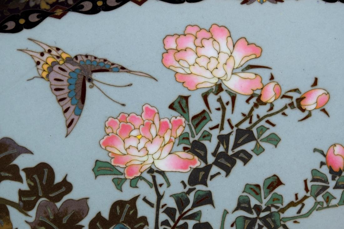 Japanese Oval Cloisonne Tray with Floral and Butterfly - 3