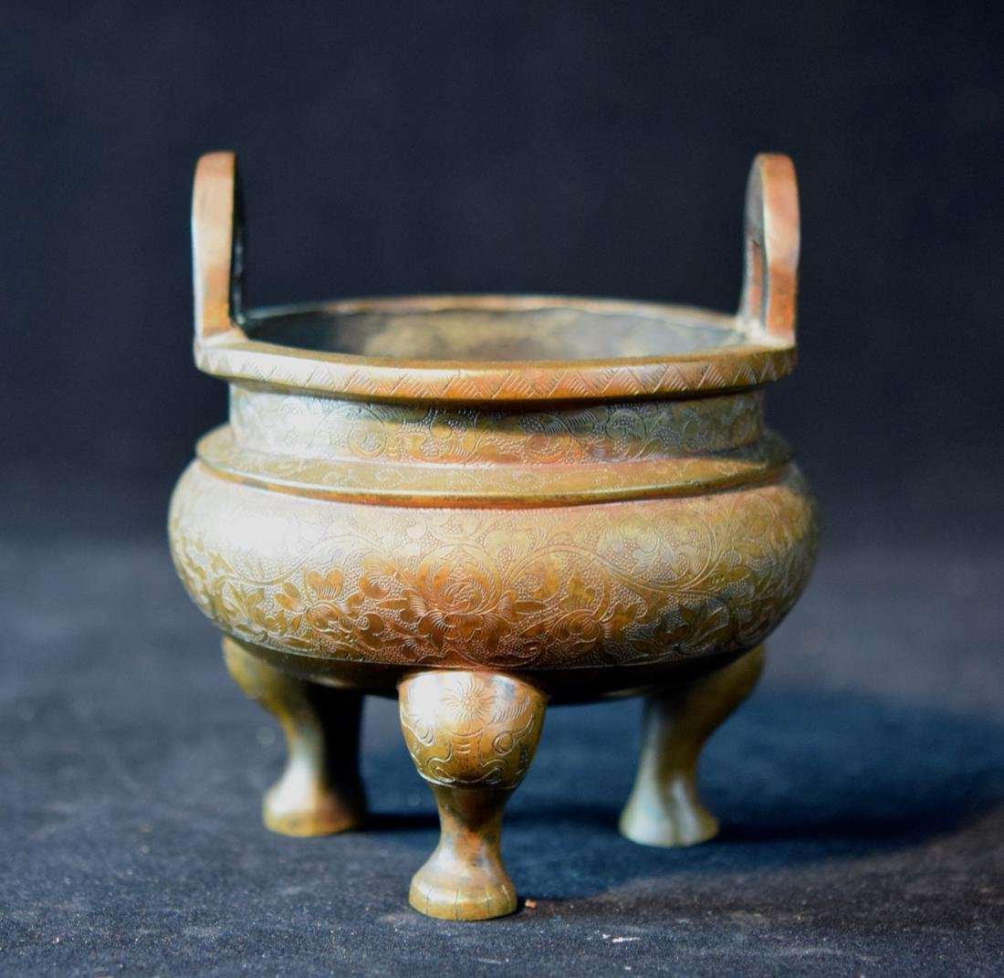 Chinese Bronze Censer with Incised Lotus Scene