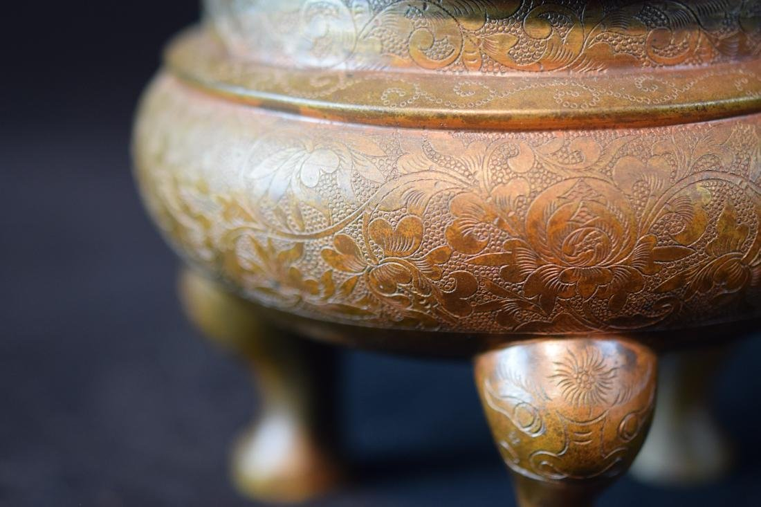 Chinese Bronze Censer with Incised Lotus Scene - 2