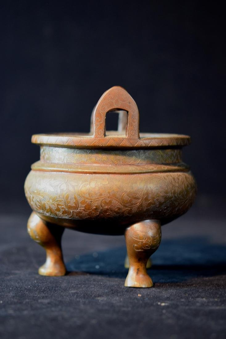 Chinese Bronze Censer with Incised Lotus Scene - 4