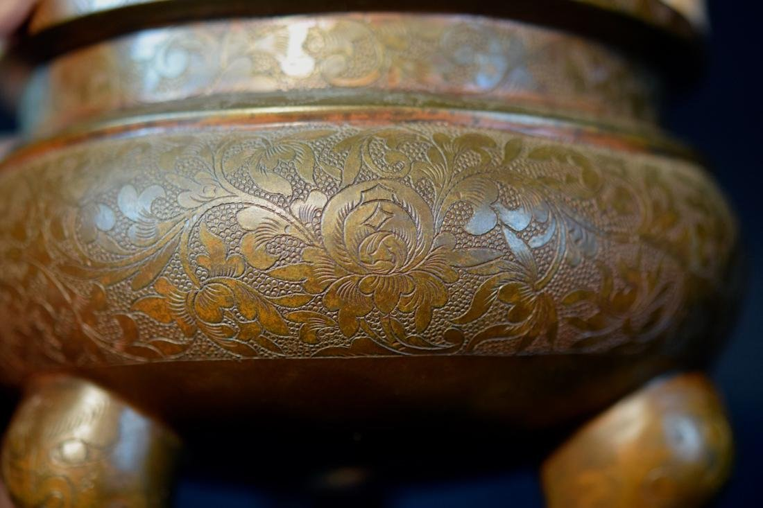 Chinese Bronze Censer with Incised Lotus Scene - 6