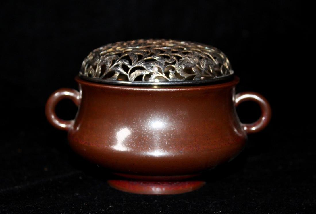 18th cen Chinese Iron Rust Glazed Porcelain Censer with - 3