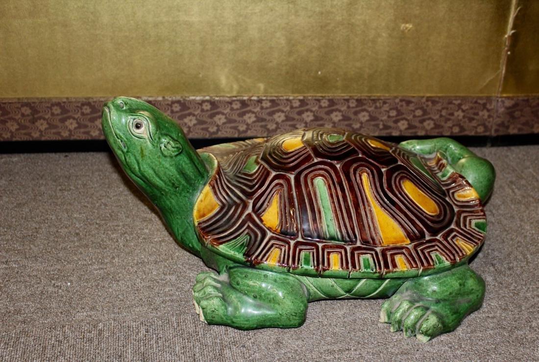 Large Chinese Sancai Pottery Turtle