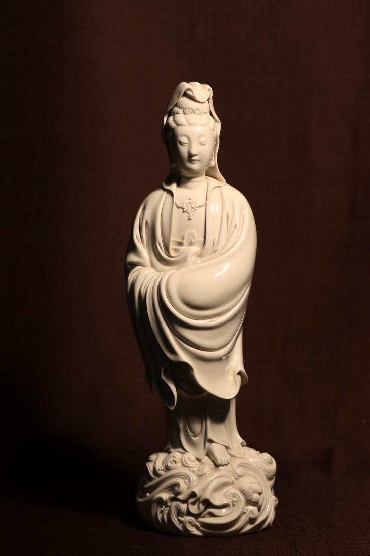 Chinese Blanc de Chine Porcelain Kuanyin of Standing