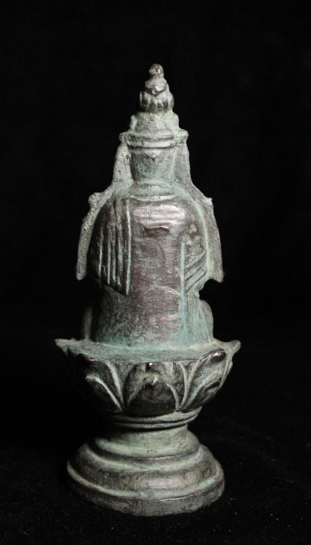 Chinese Tang Bronze Seated Buddha - 5