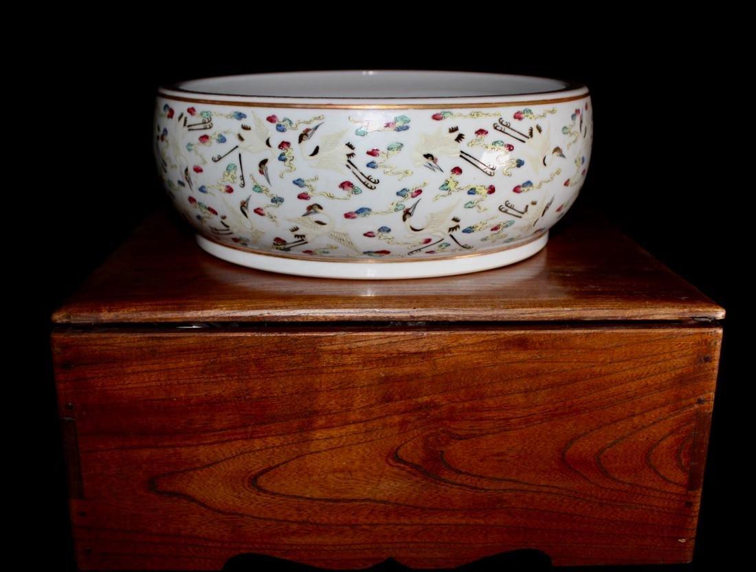 Chinese Porcelain Brushwasher with Crane Motif -