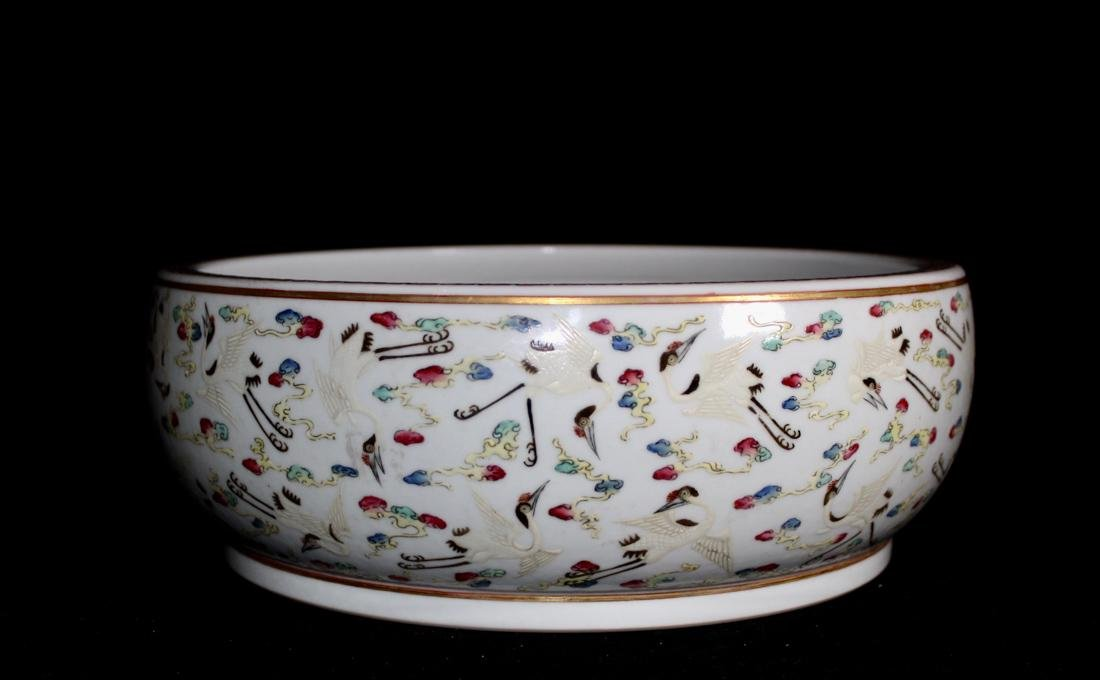 Chinese Porcelain Brushwasher with Crane Motif - - 2