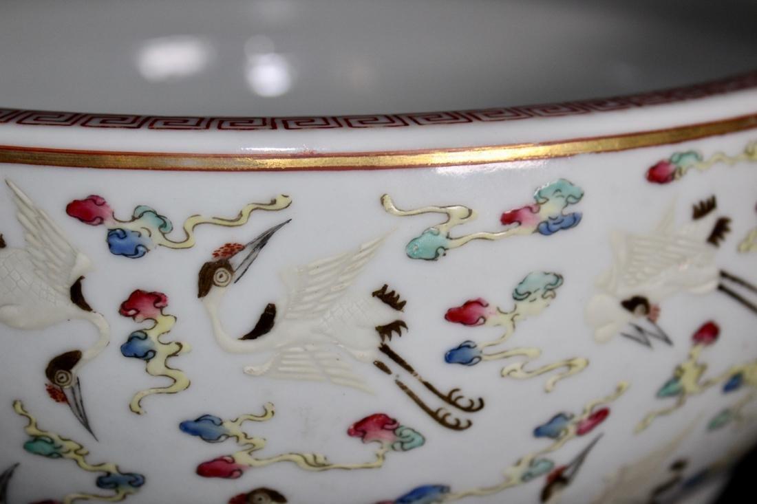 Chinese Porcelain Brushwasher with Crane Motif - - 3