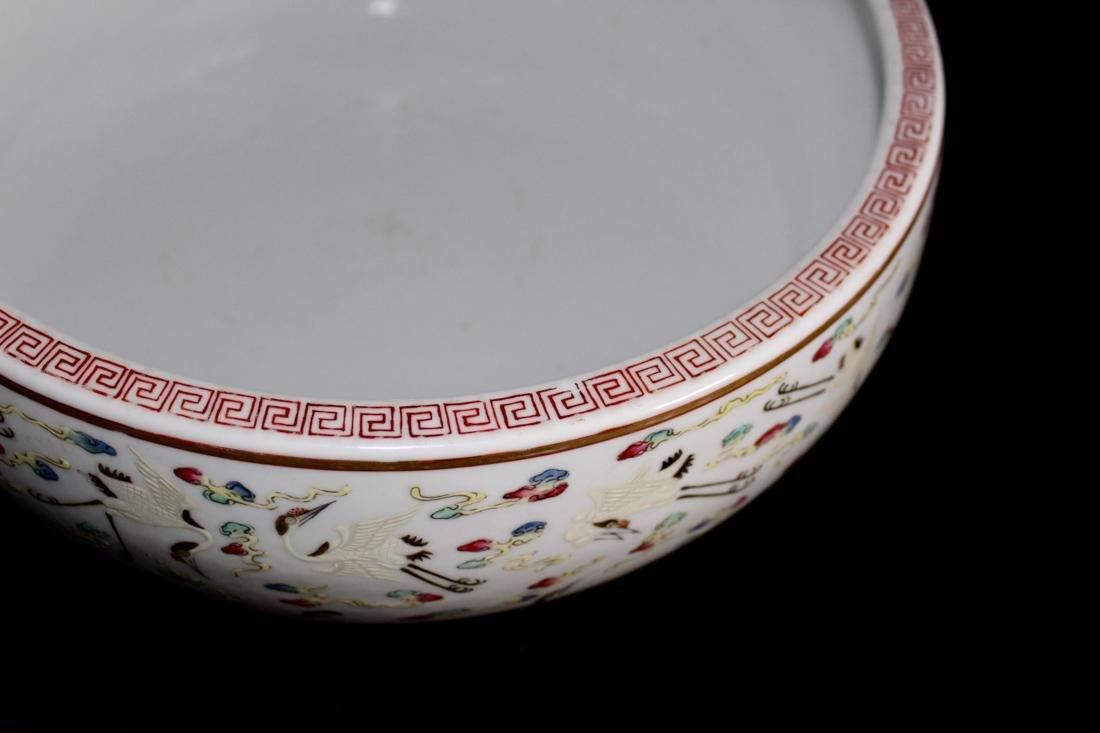 Chinese Porcelain Brushwasher with Crane Motif - - 5