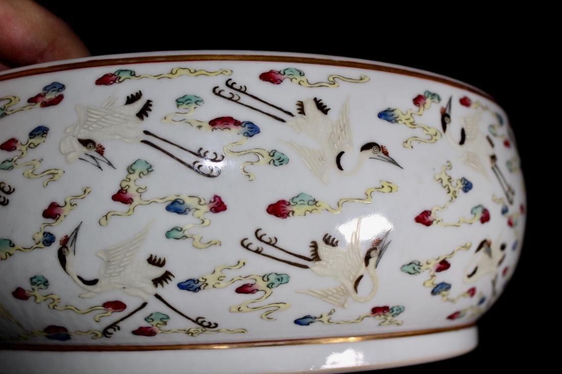 Chinese Porcelain Brushwasher with Crane Motif - - 6