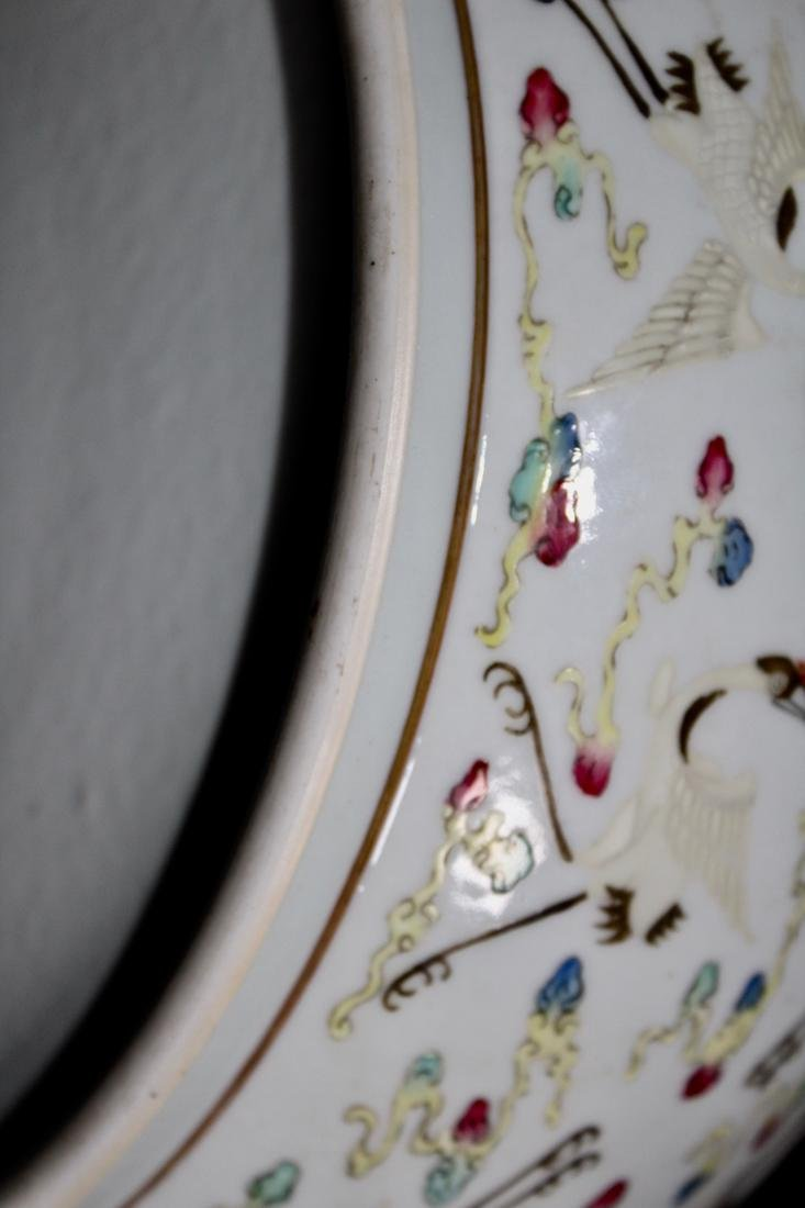 Chinese Porcelain Brushwasher with Crane Motif - - 9