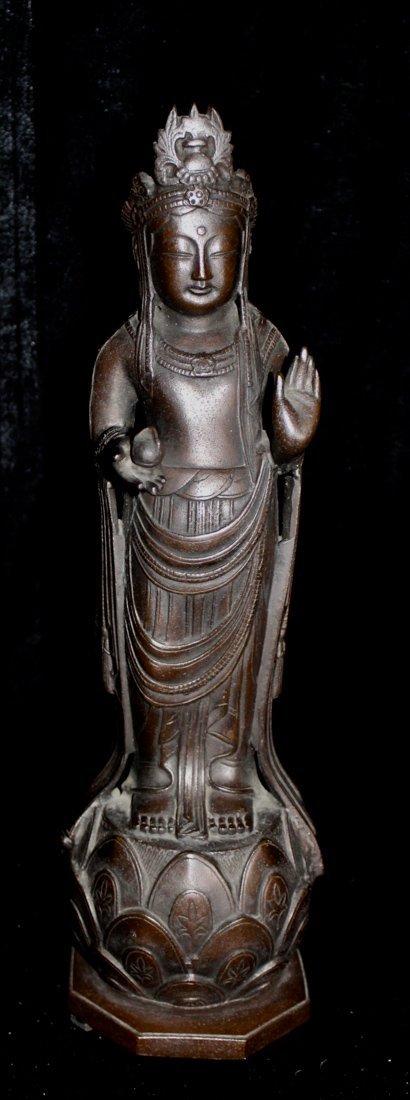Japanese Bronze Kuanyin on Lotus Base - Signed
