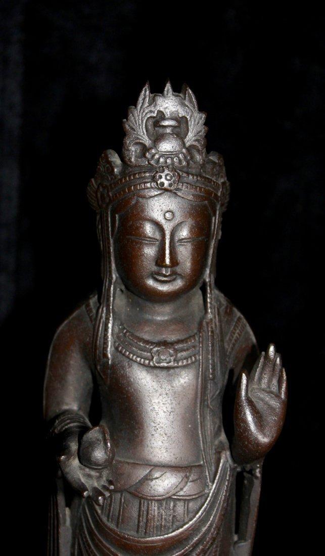 Japanese Bronze Kuanyin on Lotus Base - Signed - 2