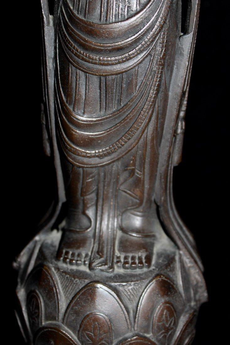 Japanese Bronze Kuanyin on Lotus Base - Signed - 3