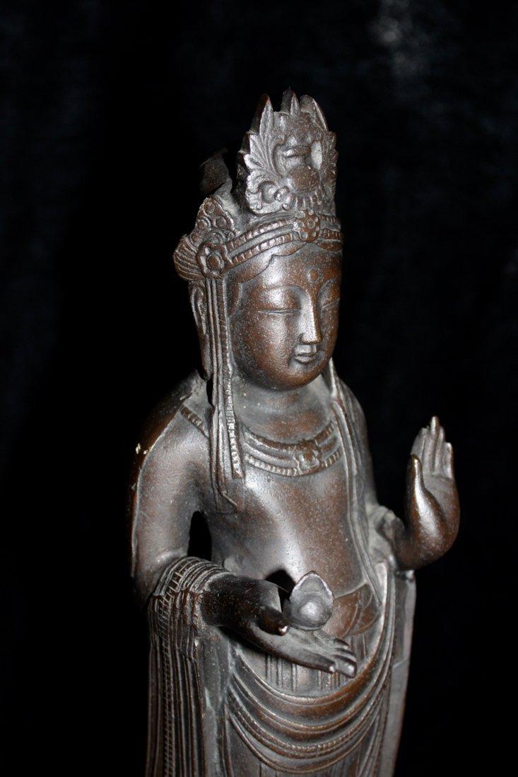 Japanese Bronze Kuanyin on Lotus Base - Signed - 5