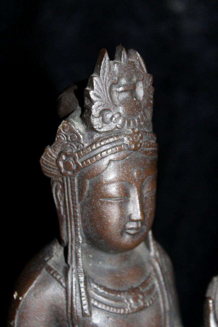 Japanese Bronze Kuanyin on Lotus Base - Signed - 6