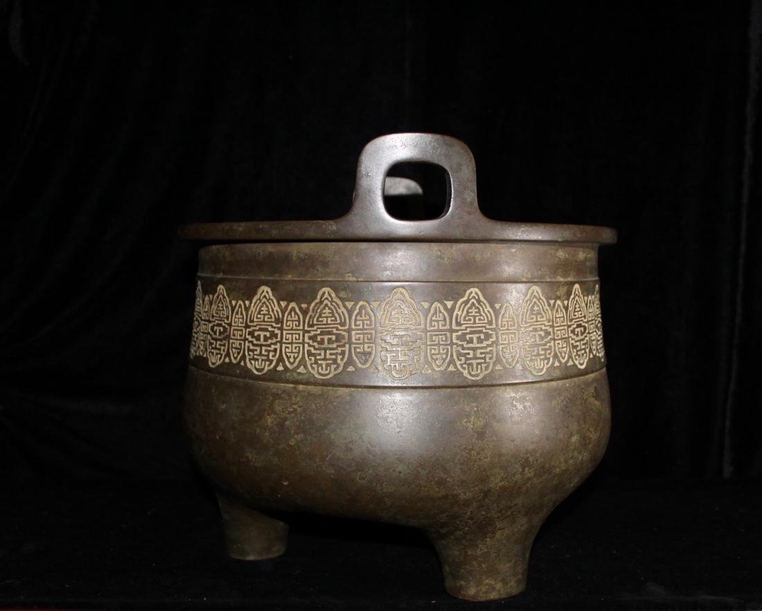 Large Chinese Bronze Censer with Wood Base - Bao Rong - 4