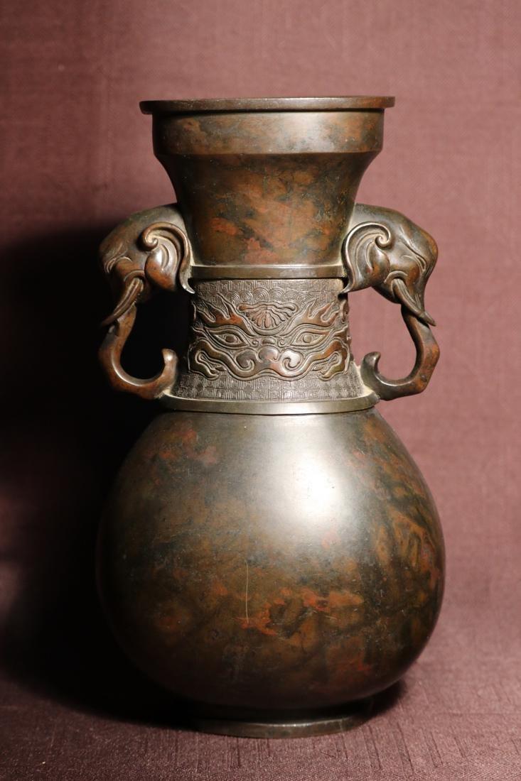 Chinese Bronze Vase with Elephane Handle