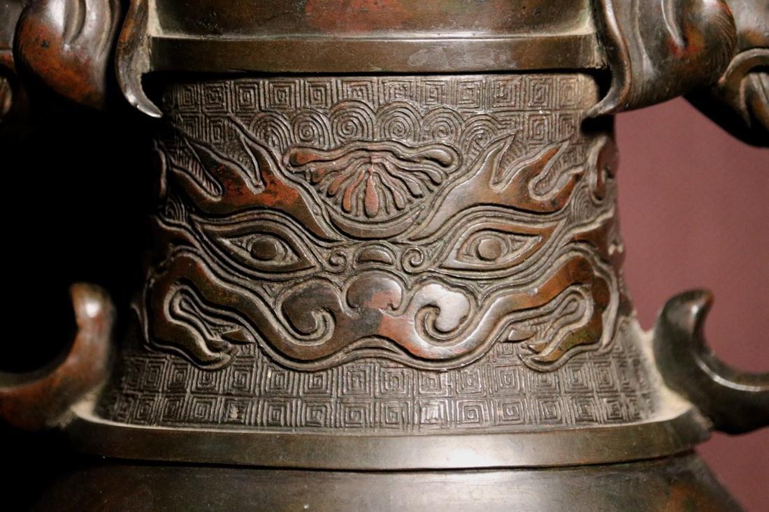 Chinese Bronze Vase with Elephane Handle - 2
