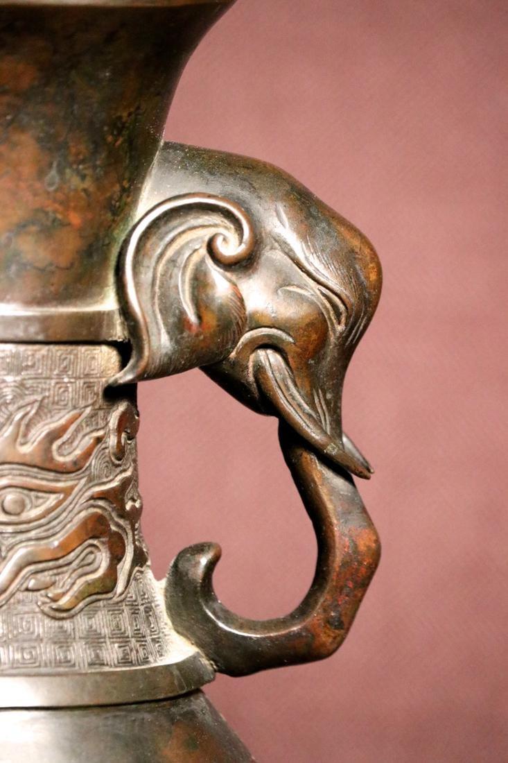 Chinese Bronze Vase with Elephane Handle - 3