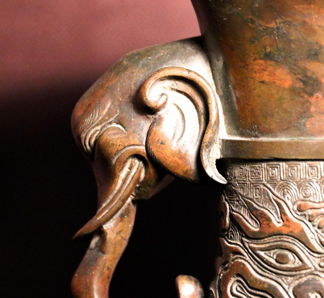 Chinese Bronze Vase with Elephane Handle - 4