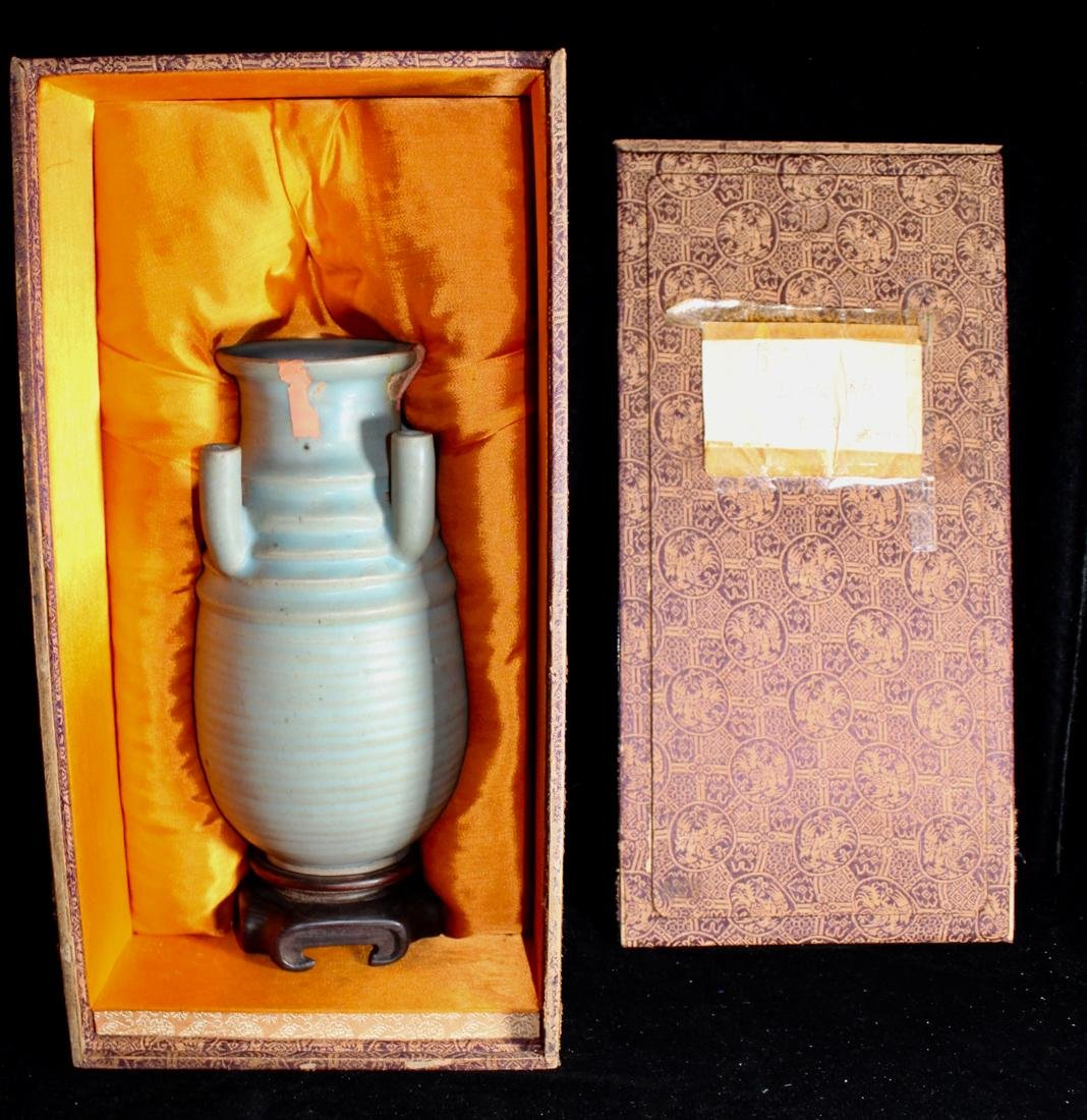 Early Chinese Celadon Porcelain Vase with Tubes - Old
