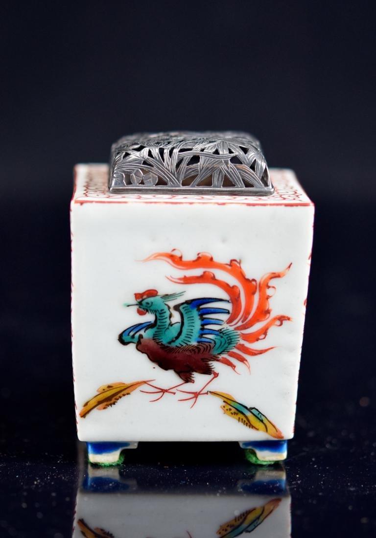 Japanese Ko-Kutani Porcelain Censer with Silver Lid