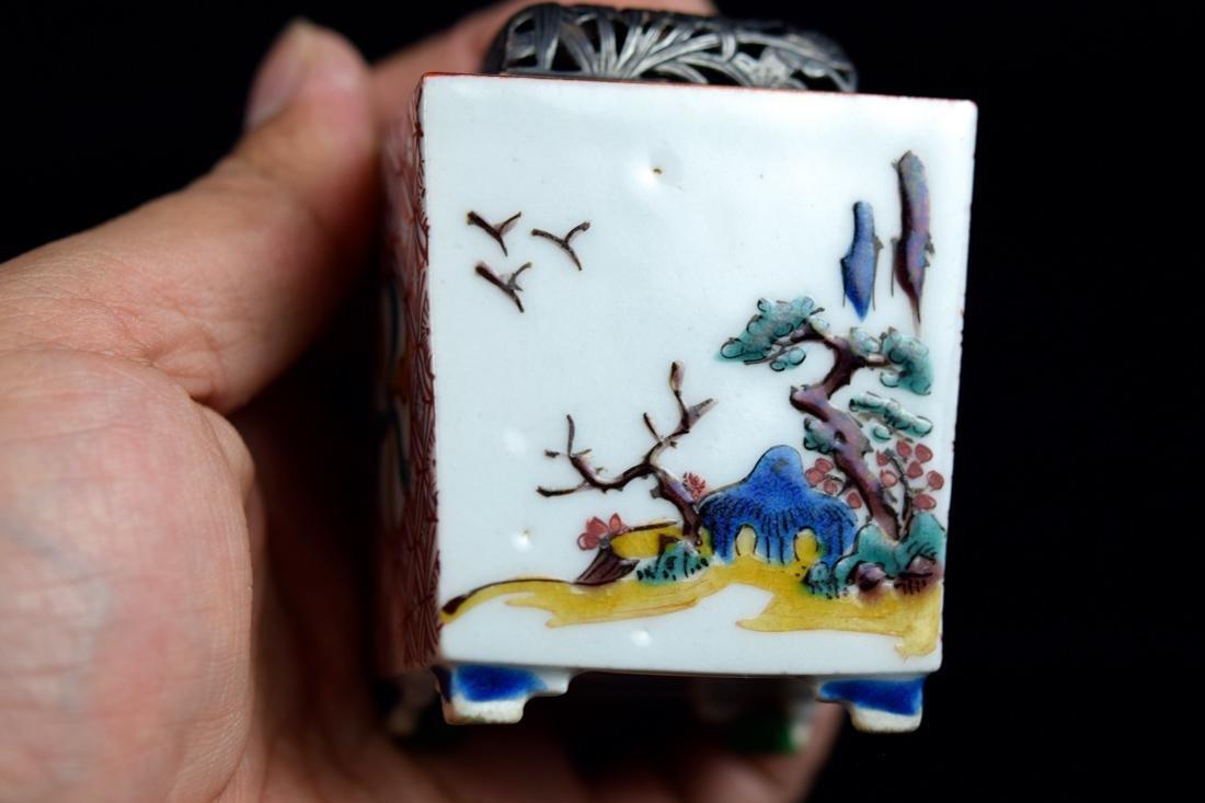 Japanese Ko-Kutani Porcelain Censer with Silver Lid - 5