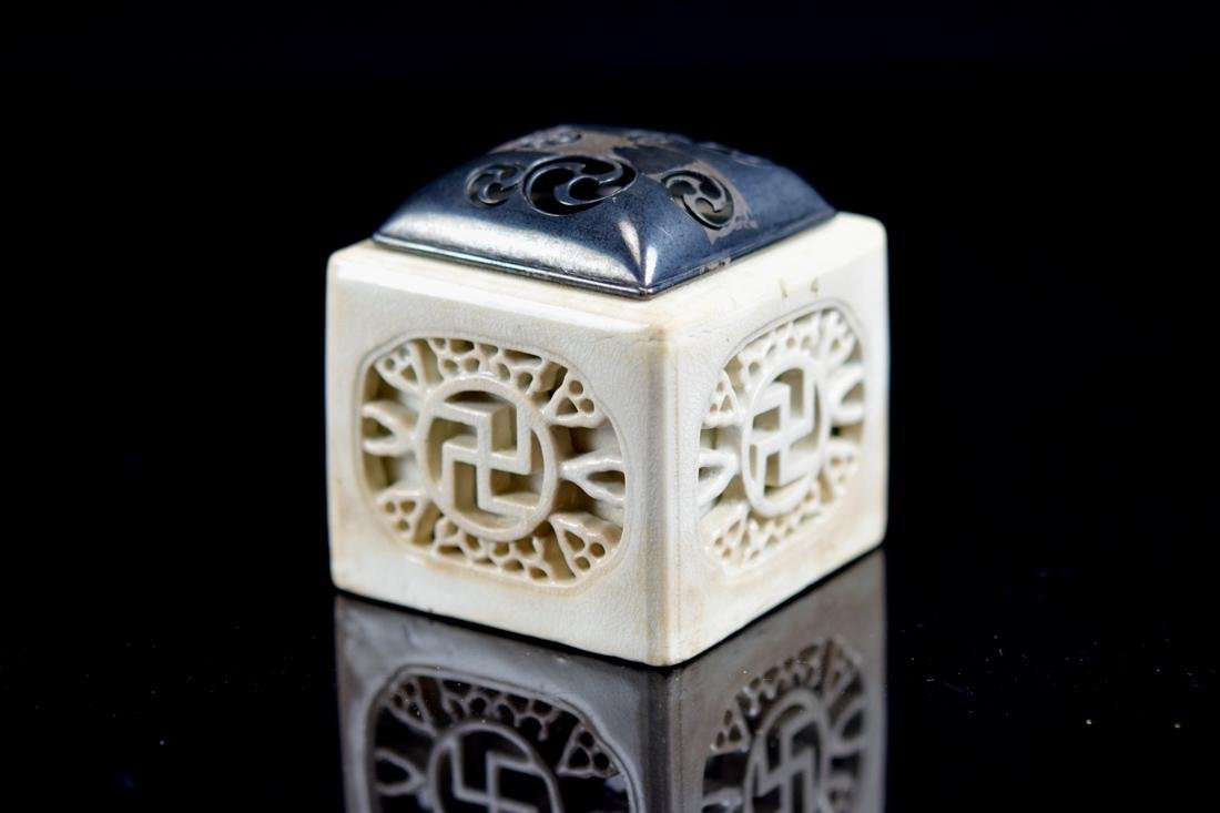 Japanese White Porcelain Censer with Silver Lid - 5