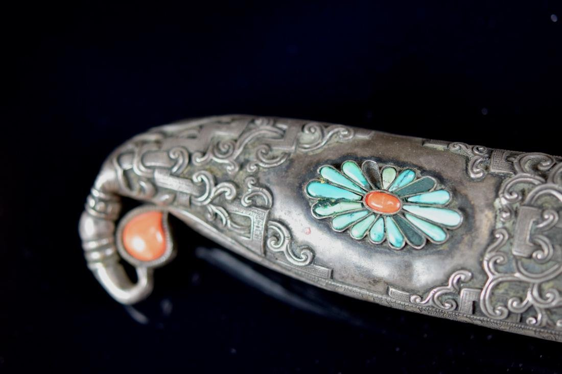 Chinese Mongolia Knife with Coral and Turquois Inlay - 2