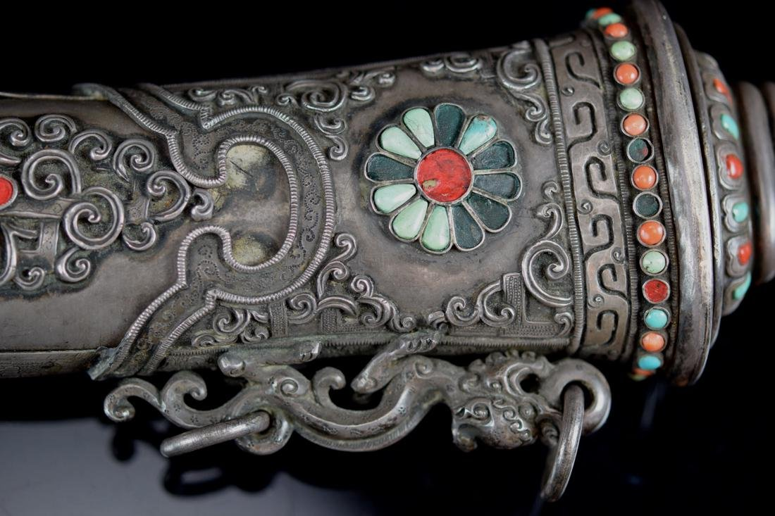 Chinese Mongolia Knife with Coral and Turquois Inlay - 4