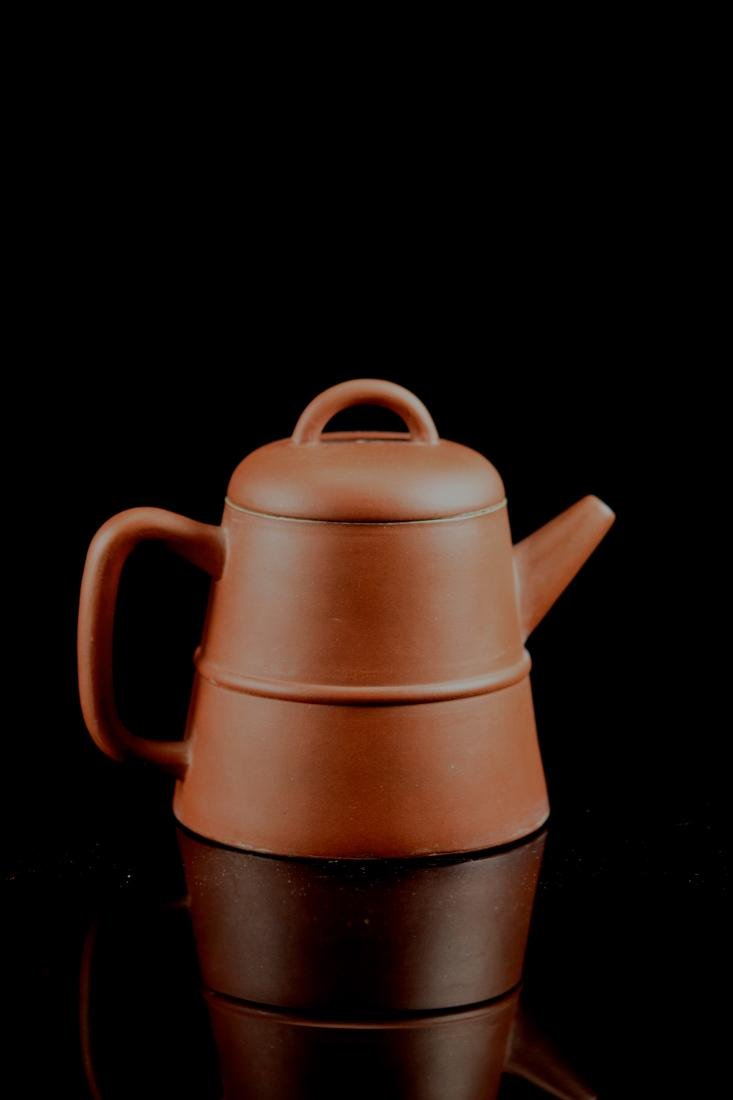 Chinese Yixin Teapot with Incised Characters - 6