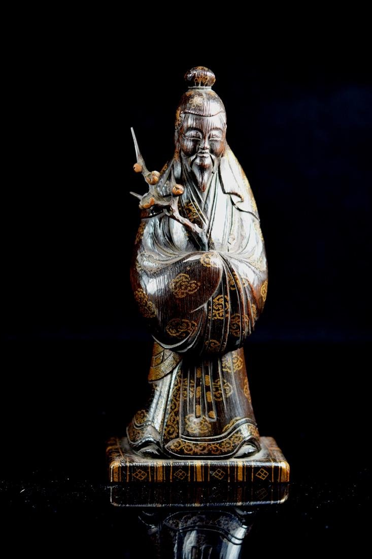 Japanese jiche Wood Priest with Gilt Lacquer Decoration - 2