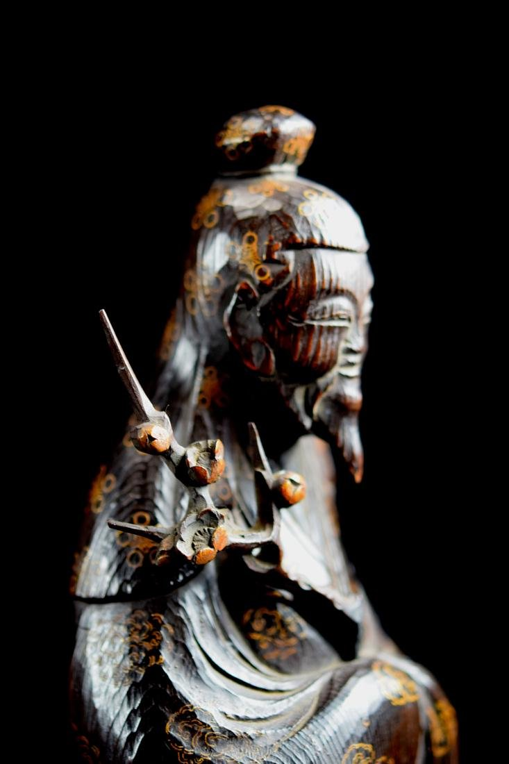 Japanese jiche Wood Priest with Gilt Lacquer Decoration - 3